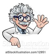 Vector Illustration of Cartoon Senior Male Scientist Giving a Waving and Pointing down over a Sign by AtStockIllustration