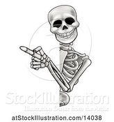 Vector Illustration of Cartoon Skeleton Pointing Around a Sign by AtStockIllustration