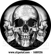 Vector Illustration of Cartoon Skulls Graphic Design by AtStockIllustration