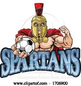 Vector Illustration of Cartoon Spartan Trojan Soccer Football Sports Mascot by AtStockIllustration