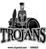Vector Illustration of Cartoon Spartan Trojan Sports Mascot by AtStockIllustration