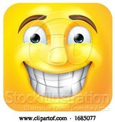 Vector Illustration of Cartoon Square Emoticon Grinning by AtStockIllustration