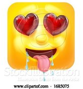 Vector Illustration of Cartoon Square Emoticon in Love by AtStockIllustration