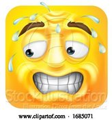 Vector Illustration of Cartoon Square Emoticon Sweating by AtStockIllustration