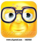 Vector Illustration of Cartoon Square Emoticon with Blemishes and Glasses by AtStockIllustration
