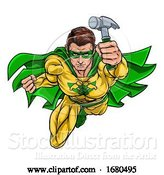 Vector Illustration of Cartoon Super Carpenter Handyman Superhero Holding Hammer by AtStockIllustration