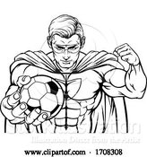 Vector Illustration of Cartoon Superhero Holding Soccer Ball Sports Mascot by AtStockIllustration