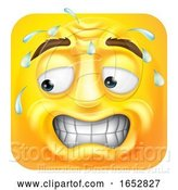 Vector Illustration of Cartoon Sweating Worried Emoji Emoticon Icon Cartoon by AtStockIllustration