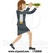 Vector Illustration of Cartoon Telescope Spyglass Lady Business Concept by AtStockIllustration