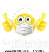 Vector Illustration of Cartoon Thumbs up Emoticon Emoji PPE Mask Face Icon by AtStockIllustration