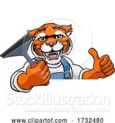 Vector Illustration of Cartoon Tiger Car or Window Cleaner Holding Squeegee by AtStockIllustration