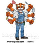 Vector Illustration of Cartoon Tiger Multitasking Handyman Holding Tools by AtStockIllustration