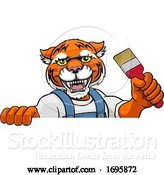 Vector Illustration of Cartoon Tiger Painter Decorator Holding Paintbrush by AtStockIllustration