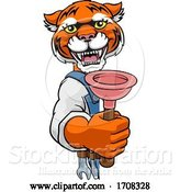 Vector Illustration of Cartoon Tiger Plumber Mascot Holding Plunger by AtStockIllustration