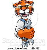 Vector Illustration of Cartoon Tiger Plumber or Mechanic Holding Spanner by AtStockIllustration