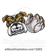 Vector Illustration of Cartoon Tough Bulldog Monster Mascot Holding out a Baseball in One Clawed Paw by AtStockIllustration
