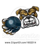 Vector Illustration of Cartoon Tough Bulldog Monster Mascot Holding out a Bowling Ball in One Clawed Paw by AtStockIllustration