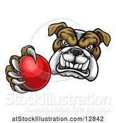 Vector Illustration of Cartoon Tough Bulldog Monster Mascot Holding out a Cricket Ball in One Clawed Paw by AtStockIllustration