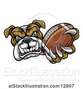 Vector Illustration of Cartoon Tough Bulldog Monster Mascot Holding out a Football in One Clawed Paw by AtStockIllustration