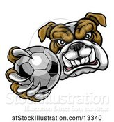Vector Illustration of Cartoon Tough Bulldog Monster Mascot Holding out a Soccer Ball in One Clawed Paw by AtStockIllustration