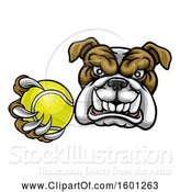 Vector Illustration of Cartoon Tough Bulldog Monster Mascot Holding out a Tennis Ball in One Clawed Paw by AtStockIllustration