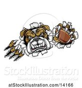 Vector Illustration of Cartoon Tough Bulldog Monster Shredding Through a Wall with a Football in One Hand by AtStockIllustration