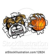 Vector Illustration of Cartoon Tough Bulldog Monster Sports Mascot Holding out a Basketball in One Clawed Paw and Breaking Through a Wall by AtStockIllustration