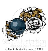 Vector Illustration of Cartoon Tough Bulldog Monster Sports Mascot Holding out a Bowling Ball in One Clawed Paw and Breaking Through a Wall by AtStockIllustration