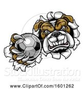 Vector Illustration of Cartoon Tough Bulldog Monster Sports Mascot Holding out a Soccer Ball in One Clawed Paw and Breaking Through a Wall by AtStockIllustration