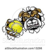 Vector Illustration of Cartoon Tough Bulldog Monster Sports Mascot Holding out a Tennis Ball in One Clawed Paw and Breaking Through a Wall by AtStockIllustration