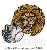 Vector Illustration of Cartoon Tough Lion Monster Mascot Holding out a Baseball in One Clawed Paw by AtStockIllustration