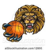 Vector Illustration of Cartoon Tough Lion Monster Mascot Holding out a Basketball in One Clawed Paw by AtStockIllustration