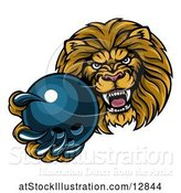 Vector Illustration of Cartoon Tough Lion Monster Mascot Holding out a Bowling Ball in One Clawed Paw by AtStockIllustration