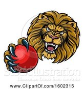 Vector Illustration of Cartoon Tough Lion Monster Mascot Holding out a Cricket Ball in One Clawed Paw by AtStockIllustration