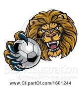Vector Illustration of Cartoon Tough Lion Monster Mascot Holding out a Soccer Ball in One Clawed Paw by AtStockIllustration
