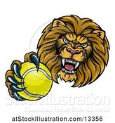 Vector Illustration of Cartoon Tough Lion Monster Mascot Holding out a Tennis Ball in One Clawed Paw by AtStockIllustration