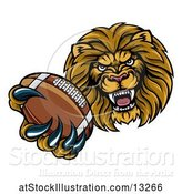 Vector Illustration of Cartoon Tough Lion Monster Mascot Holding out an American Football in One Clawed Paw by AtStockIllustration
