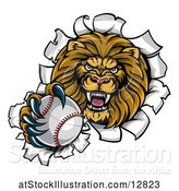 Vector Illustration of Cartoon Tough Lion Sports Mascot Holding out a Baseball and Breaking Through a Wall by AtStockIllustration