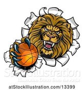 Vector Illustration of Cartoon Tough Lion Sports Mascot Holding out a Basketball and Breaking Through a Wall by AtStockIllustration