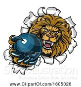 Vector Illustration of Cartoon Tough Lion Sports Mascot Holding out a Bowling Ball and Breaking Through a Wall by AtStockIllustration