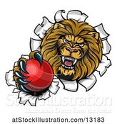 Vector Illustration of Cartoon Tough Lion Sports Mascot Holding out a Cricket Ball and Breaking Through a Wall by AtStockIllustration