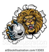 Vector Illustration of Cartoon Tough Lion Sports Mascot Holding out a Soccer Ball and Breaking Through a Wall by AtStockIllustration