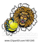 Vector Illustration of Cartoon Tough Lion Sports Mascot Holding out a Tennis Ball and Breaking Through a Wall by AtStockIllustration