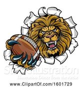 Vector Illustration of Cartoon Tough Lion Sports Mascot Holding out an American Football and Breaking Through a Wall by AtStockIllustration