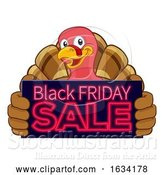 Vector Illustration of Cartoon Turkey Black Friday Sale Cartoon by AtStockIllustration