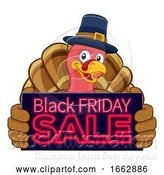 Vector Illustration of Cartoon Turkey Black Friday Sale Character by AtStockIllustration