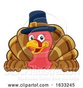 Vector Illustration of Cartoon Turkey Pilgrim Hat Thanksgiving Character by AtStockIllustration