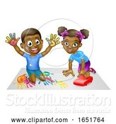 Vector Illustration of Cartoon Two Children Playing by AtStockIllustration
