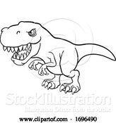 Vector Illustration of Cartoon Tyrannosaurus T Rex Dinosaur Character by AtStockIllustration