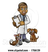 Vector Illustration of Cartoon Vet Character Holding Clipboard by AtStockIllustration